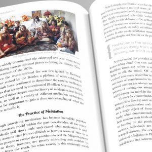 An image shows an inner page of Patrick Zeis' book Meditation Masters: Spiritual Wisdom From Our Greatest Teacher