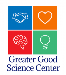 An image shows the logo for the Greater Good Science Center, which is featured in Balanced Achievement's article looking at free coronavirus meditation resources.