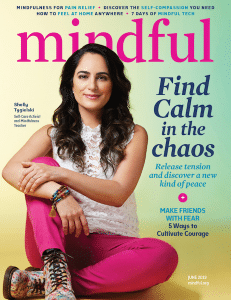 An image shows the June 2019 cover of Mindful Magazine. The publication is featured in Balanced Achievement's article looking at free coronavirus meditation resources.